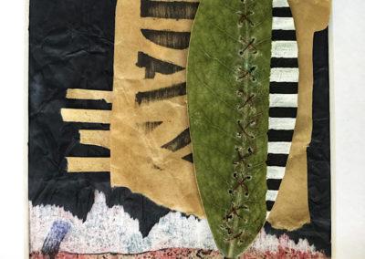 Kirschlorbeer Blatt, Acrylfarbe, diverse Papiere