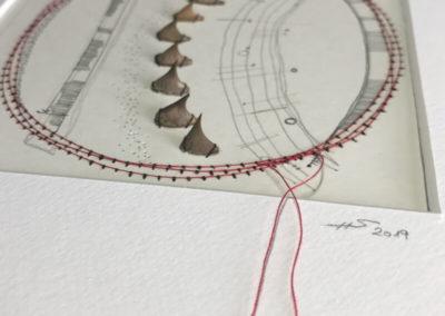 Mixed Media, Kunst, Rosendornen, Zeichnung, Nähgarn, Details