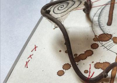 Teetütenpapier, Zweig, Korkenzieherhasel, Walnusstinte, Nähgarn, Reflektionen zum Leben, Detail