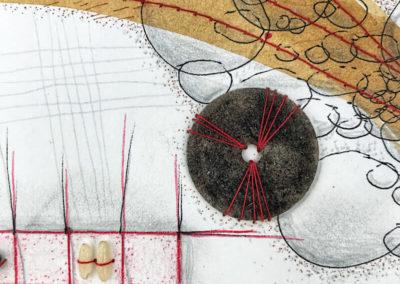 Zeichnung, Walnusstinte, Mixed Media, Nähgarn, Gefundene Objekte, Silvester, Feuerwerkskörper, Reis, Pfeffer, Blasen, Raster