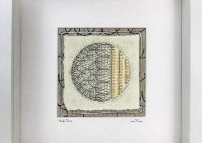 Zeichnung, Mixed Media, Reiskörner, aufgenäht, Bleistift, Fisch und Reis