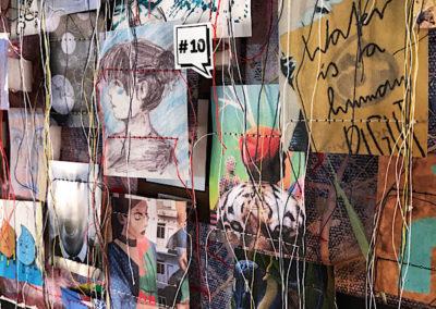 Millerntor Gallery, viele Künstler, bunt, Papier auf Leinwand, genäht