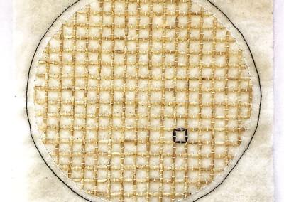 Assemblage, Kunst, schwarzer und weißer Reis, 517 Reiskörner