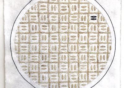 Assemblage, Kunst, schwarzer und weißer Reis, Nepalpapier, 445 Reiskörner